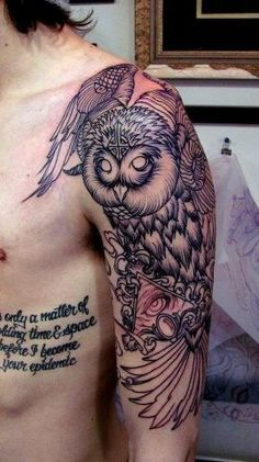 Whoa, this is epic. Like this if you love owl tattoos.