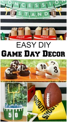 Quick & Easy DIY Game Day Party Decor Ready for some football this weekend? Check out these super easy DIY football party ideas! Healthy Superbowl Snacks, Football Snacks, Football Parties, Football Party Decorations, Football Tailgate, Football Decor, Superbowl Decor, Flag Football Party, Razorback Party