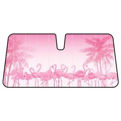 Pink Flamingo Birds and Palm Trees Car Truck SUV Front Windshield Sunshade - Accordion Style