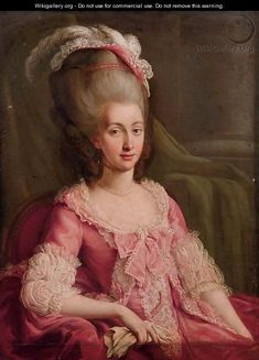 """Portrait of the Comtesse d'Artois"" oil on Canvas.  Source 	    http://www.wikigallery.org/  Author 	    French School"