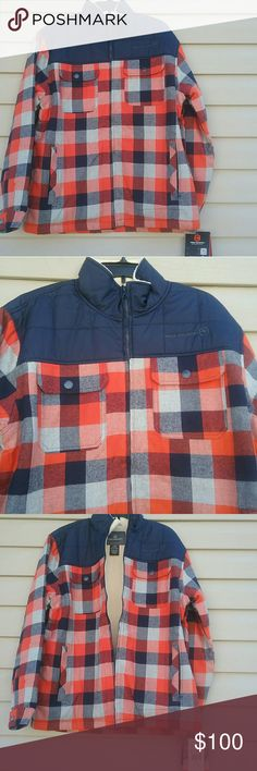 Mens Free Country woodsman jacket NWT Blue and Orange plaid very warm and comfortable with a soft fuzzy lining Free Country woodsman jacket size L Jacket is 100%cotton  Lining is 100% polyester Free Country Jackets & Coats Lightweight & Shirt Jackets
