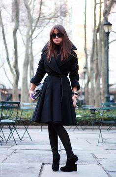 Vintage Miroslava via BrooklynBlonde.com / @brooklynblonde WINTER Black coat, black tights, black shoes
