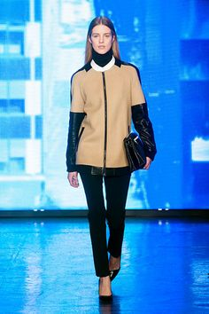 "What Donna really meant was ""Get out and see the town."" Blocked out neutrals - DKNY Fall 2013"