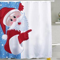 Unique Custom Merry Christmas Santa Claus 3D Printed Shower Curtain Waterproof Polyester Bathroom Decor Curtain Screens