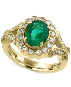 Brasilica by Effy Emerald (1-1/2 ct. t.w.) and Diamond (3/8 ct. t.w.) Ring in 14k Gold
