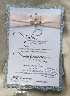 Qty. 50  Snowflake Rhinestone Buckle Invitation by SatinBow