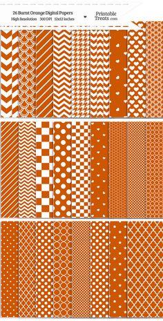 26 Burnt Orange Digital Paper Set Download from PrintableTreats.com