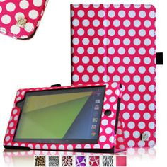 Fintie Folio Case for Google Nexus 7 FHD 2nd Gen 2013 Android Tablet Slim Fit With Auto Wake / Sleep Feature - Magenta Polka dot - http://androidizen.com/shop/fintie-folio-case-for-google-nexus-7-fhd-2nd-gen-2013-android-tablet-slim-fit-with-auto-wake-sleep-feature-magenta-polka-dot/