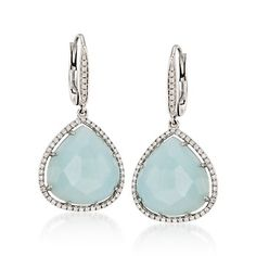 Triangular Amazonite and .45 ct. t.w. Diamond Earrings