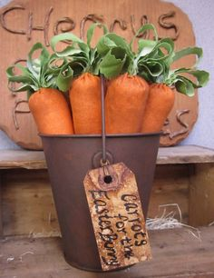 Primitive Spring Rusty Bucket Carrots for The Easter Bunny Bowl Fillers Ornies | eBay