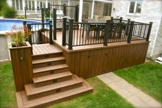 Pool deck and patio ideas images. We specialise in pool deck and patio installation. Wooden Decks, Wooden Pergola, Wooden Steps Outdoor, Patio Plus, Wood Plastic, Plastic Decking, Deck Building Plans, Pool Deck Plans, House Deck
