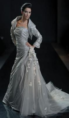 Fabulous grey gray wedding dress don ut like the jacket