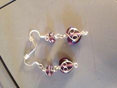 DIY purple heart bead earrings