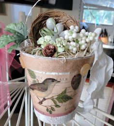 I just love these peat pots. You can decorate them in so many ways. They make great a great happy for some one!