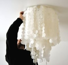 DIY Faux Capiz Shell Chandelier out of wax paper - Brilliant