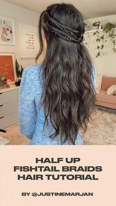 Pretty Hairstyles, Girl Hairstyles, Bridesmaid Hairstyles, Hairdos, Wedding Hairstyles, Fishtail Braid Hairstyles, Hair Updo, Curly Hair Styles, Natural Hair Styles