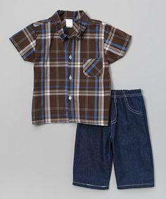 Look at this #zulilyfind! Brown Plaid Button-Up & Denim Shorts - Infant & Toddler #zulilyfinds