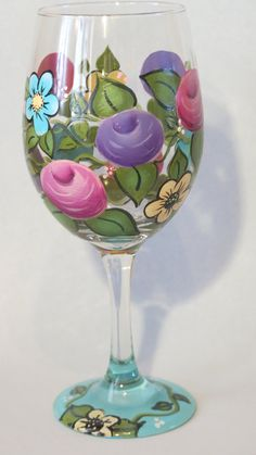 Painted floral wine glass roses flowers hostess by MyPaintedSwan