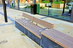 Benches and seats (with back and armrests) were designed to mount onto the top of some granite plinths. Factory Furniture were asked to design and manufacture some seating based on our Soca range and some large planters to go into a development on Church Street in Birmingham. http://factoryfurniture.co.uk/index/projects/church-street-birmingham-factory-furniture-bespoke.html