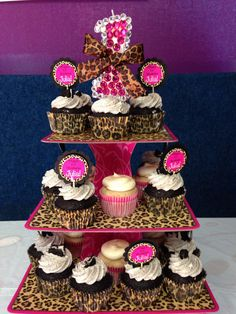 3 Tier Leopard Cheetah Pink Swirls Cupcake Stand Cardboard Birthday Party Baby  Shower Bridal Shower Supplies
