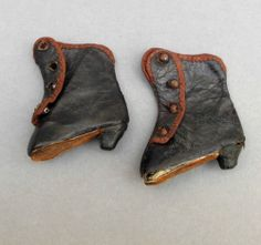 Victorian Leather Doll BOOTS ~ Steel Buttons ~ Salesmans Sample / Miniature Shoe