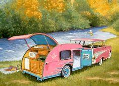 <3 vintage pink travel trailer & vintage pink station wagon