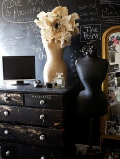 I like the chalk board wall and cream mannequin,, something else I'm going to look for. I have a project in mind.
