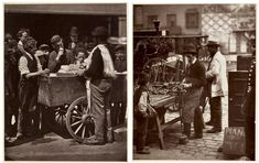 These photographs taken in London by John Thompson  in the mid 1870s show an ice cream seller and a street locksmith. During the late 1800s there were probably about 30,000 street sellers (known as costermongers) in London, each selling his or her particular wares from a barrow or donkey-cart.  Some specialised in buying waste products such as broken metal, bottles, bones and 'kitchen stuff' such as dripping, broken candles and silver spoons.