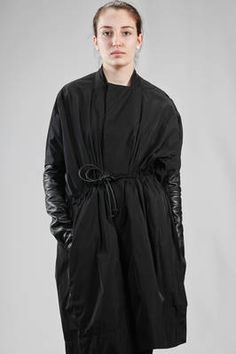 Rick Owens | wide calf length overcoat in polyester taffetas with leather sleeves | #rickowens
