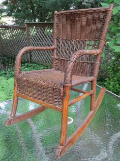 ANTIQUE 1800s CHILDS VICTORIAN ROCKER ROCKING CHAIR~WICKER CANE SEAT BACK~DOLL