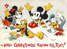 """Antique Disney Christmas Postcard with """"Donald Duck"""", Mickey Mouse, Minnie Mouse and Pluto."""