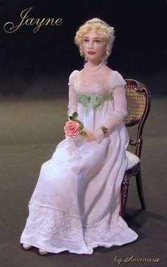 Jayne, porcelain miniature dollhouse doll, Regency period, by Annemarie Kwikkel.