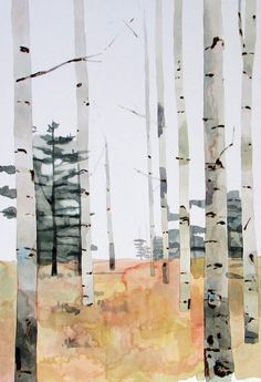 Kate Evans – Birch Forest – Watercolour and Oil on Board
