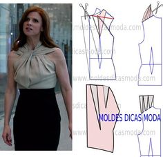Analise com a devida atenção a transformação do molde de blusa entrelaçada. Para fazer este modelo imprima o molde base de blusa e faça a gradação para o s