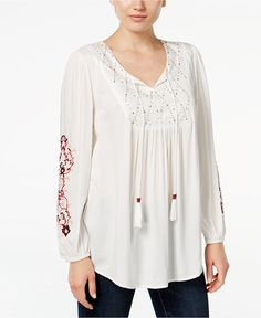 Style & Co. Petite Embroidered Peasant Top, Only at Macy's White Peasant Blouse, Peasant Tops, Tunic Tops, Bohemian Blouses, Boho Tops, Different Necklines, Floral Blouse, Black Tops, Macy's Online