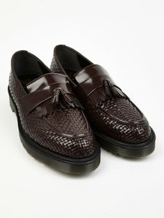 Dr Martens Men's Oxblood MIE Godfrey Woven Leather Loafers   oki-ni