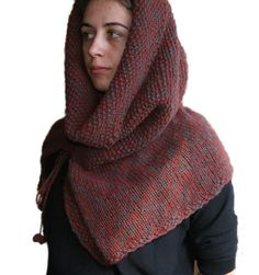 Hooded Knit Poncho in Burgundy and Teal - Chunky Cowl - Neck Warmer Scarf - Snood - Winter Fashion - Women Teens Accessories. $60.00, via Etsy.