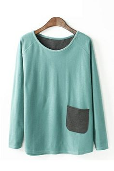 Mint Green Love! Mint Green One-pocket Long Sleeve Loose T-shirt #Mint #Green #Comfy #Fashion