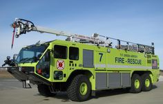 Here's an airport fire truck for the TF Green Airport Fire rescue unit in Warwick, RI.  This safety lime yellow color is mandated by the FAA. #lime #yellow #airport #fire #truck