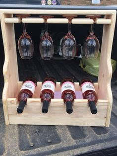 Four Bottle Wine Rack. (Wine and Glasses not included)