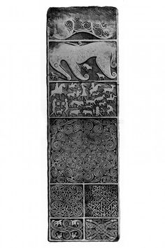 Publication drawing of Shandwick Stone Pictish cross-slab.  From J Stuart, The Sculptured Stones of Scotland, i, pls.xxvi, xxvii.
