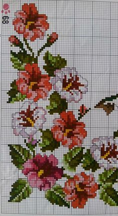 This Pin was discovered by Ayş 123 Cross Stitch, Cross Stitch Flowers, Cross Stitch Designs, Cross Stitch Patterns, Cross Stitching, Cross Stitch Embroidery, Pinterest Cross Stitch, Crochet Edging Patterns, Stitch Cartoon