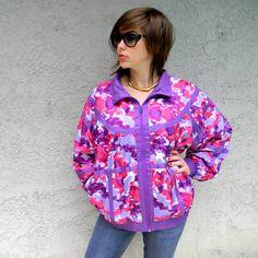 80s/90s Bomber Jacket - Vintage 80s/90s Purple/Hot Pink DEVO PUNK Windbreaker Bomber Jacket - Lady GaGa Eat Your Heart Out - L/XL. $22.00, via Etsy.