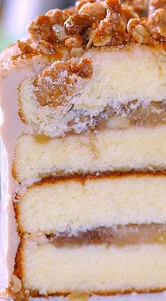 Just Because Cake Party - Apple Crisp Caramel Cake Apple Recipes, Sweet Recipes, Cake Recipes, Dessert Recipes, Fall Desserts, Just Desserts, Delicious Desserts, Fall Baking, Cake Flavors
