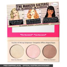 They're partners in crime and guilty as charged... of having a gorgeous glow! The perfect highlight for all occasions is yours with theBalm Manizer Sisters Trio. Strictly limited edition.