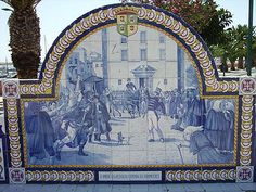 Azulejo retratando a Revolta  de olhão contra os franceses
