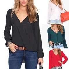 Women'S Loose Chiffon V-Neck Tops Long Sleeve Shirt Casual Blouse