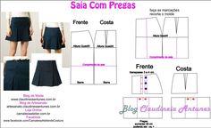 Saia com pregas Aula de modelagem e corte e costura no blog Claudineia Antunes http://claudineiaantunes.com.br/category/blog/