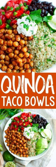 Roasted Chickpea Quinoa Taco Bowls are fast, fresh, and flavorful – perfect for taco tuesday or meatless monday! Mix and match ingredients to make you ideal taco bowl. - Roasted Chickpea Quinoa Taco Bowls - Peas and Crayons Vegetarian Tacos, Vegetarian Recipes, Cooking Recipes, Healthy Recipes, Vegan Chickpea Recipes, Quinoa Recipes Easy, Chickpea Tacos, Quinoa Tacos, Roasted Chickpea Salad
