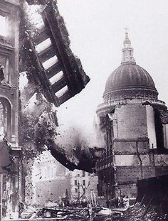 """The Battle of Britain  """"We shall fight on the beaches, we shall fight on the landing grounds, we shall fight in the fields and in the streets; we shall never surrender."""" -Winston Churchill, St Paul's Cathedral in background, London Blitz"""